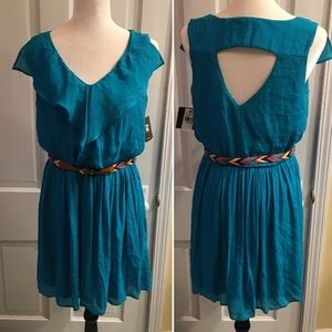 Great cut out and drape blue dress